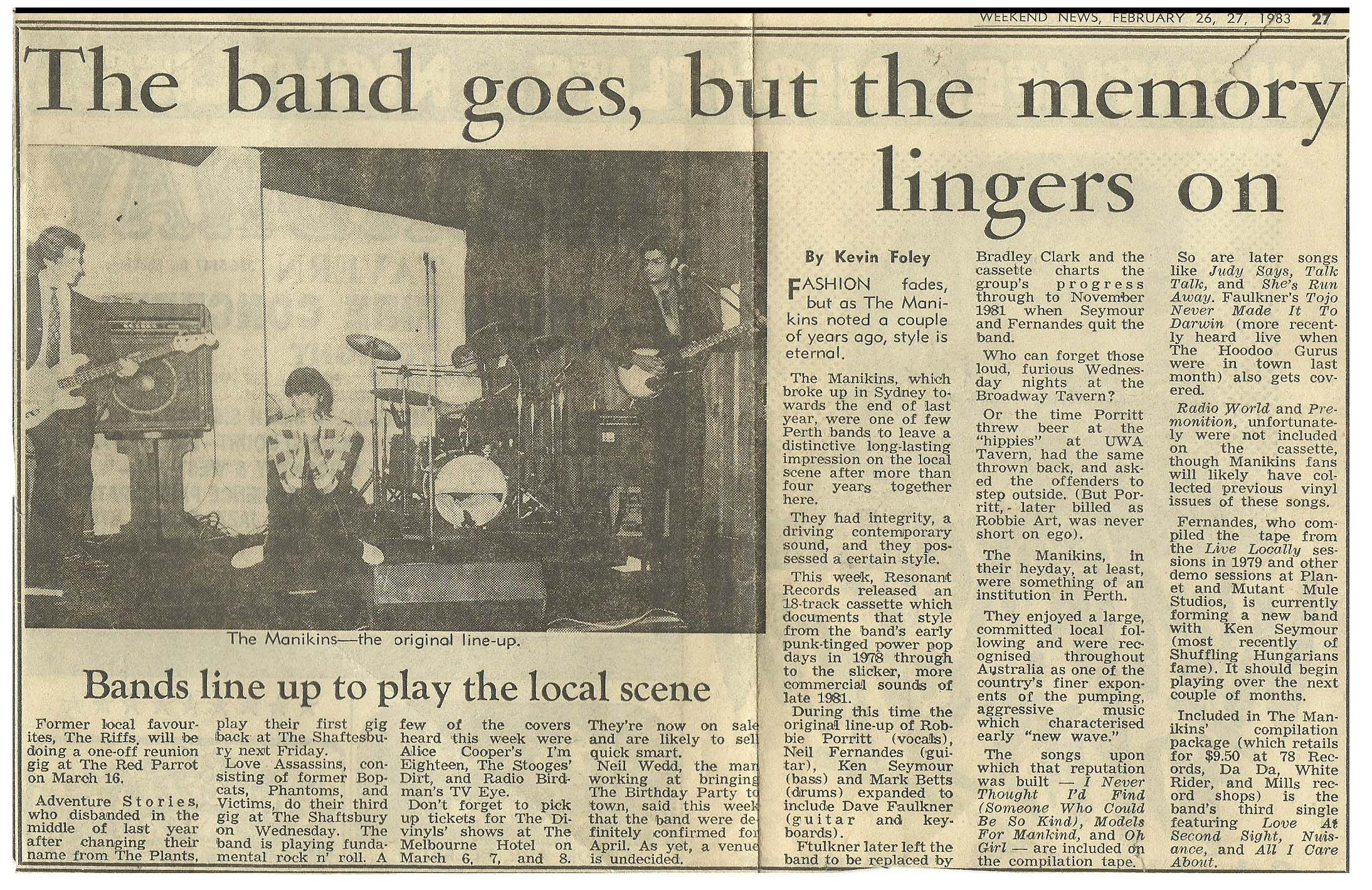 Manikins breakup newspaper article 1983