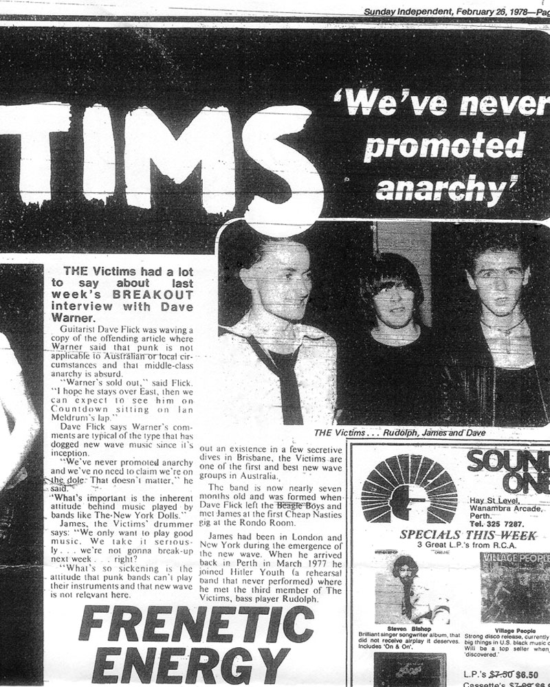 Ray Purvis' feature article on The Victims, The Sunday Independent, Feb 26, 1978.