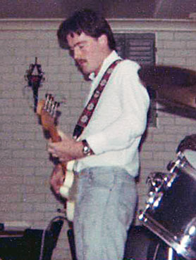 Colin Dowson on bass at Orphans rehearsal, Purvisonic Studios, 1978