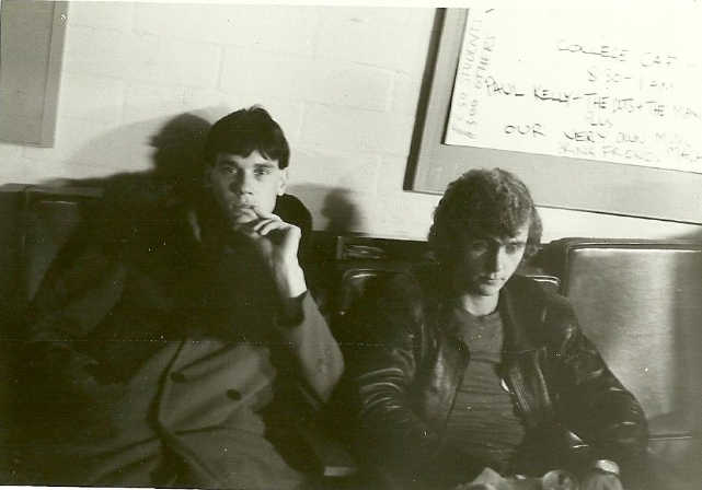 """Robbie Porritt with Dave (Rudolph V) Cardwell of The Victims - """"bored out of our minds"""" at Canberra Uni, 1982 (?)"""
