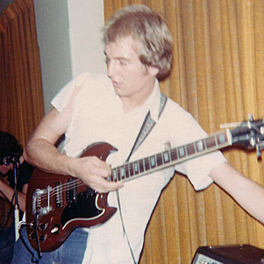 Ross Buncle in mid-fall, Orphans gig, Hernando's Hideaway, Perth 1978