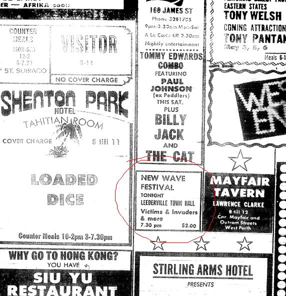 Leederville Perth Punk Festival ad hand-drawn by James Baker
