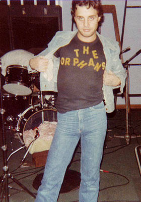Billy Orphan posing with Orphans Tshirt, Purvisonic Studios, Perth 1978
