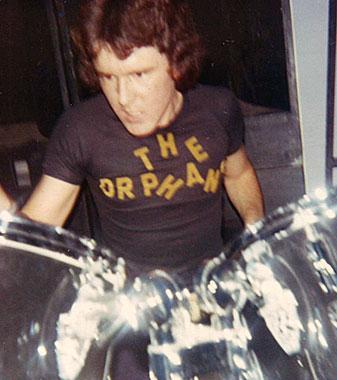 Max flaying drums, Hernando's Hideaway, Perth, 1978